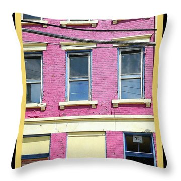 Throw Pillow featuring the photograph Pink Yellow Blue Building by Kathy Barney