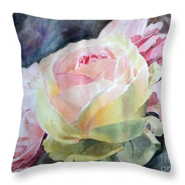 Pink Yellow Rose Angela Throw Pillow