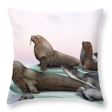 Throw Pillow featuring the painting Pinnipeds  - Walruses Odobenidae - Eared And Earless Seals Otariidae Phocidae - Interpretive Panels by Urft Valley Art