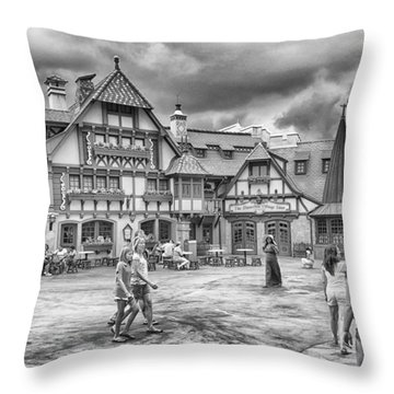 Throw Pillow featuring the photograph Pinocchio's Village Haus by Howard Salmon