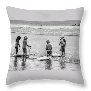 Pint Size Boogie Boarders Throw Pillow