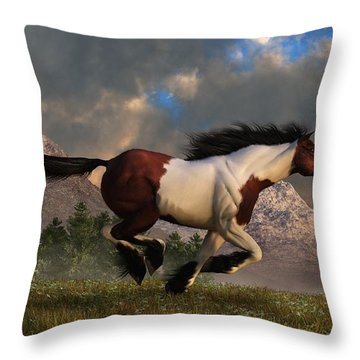 Pinto Mustang Galloping Throw Pillow