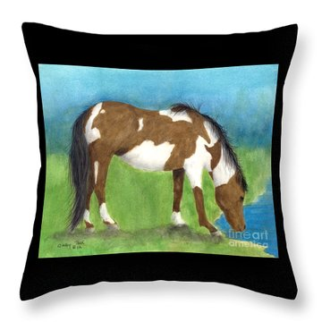 Pinto Mustang Horse Mare Farm Ranch Animal Art Throw Pillow by Cathy Peek