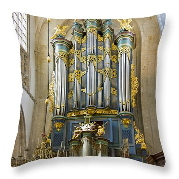 Pipe Organ In Breda Grote Kerk Throw Pillow
