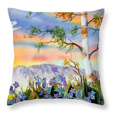 Throw Pillow featuring the painting Piper Cub Over Sleeping Lady by Teresa Ascone