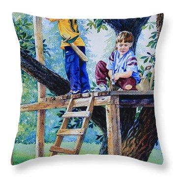Pirate Fort Throw Pillow by Hanne Lore Koehler