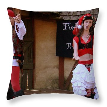 Pirate Shantyman And Bonnie Lass Throw Pillow by Rodney Lee Williams