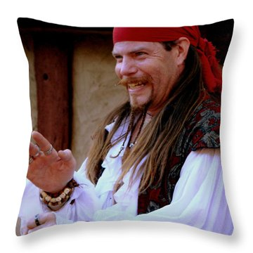 Pirate Shantyman Throw Pillow by Rodney Lee Williams