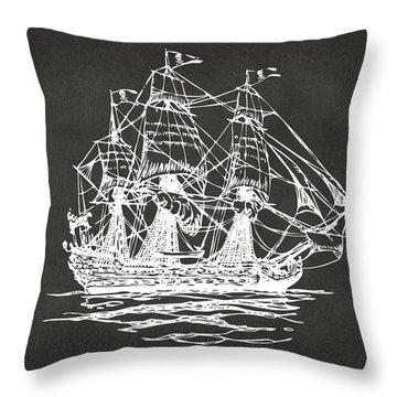 Pirate Ship Artwork - Gray Throw Pillow by Nikki Marie Smith