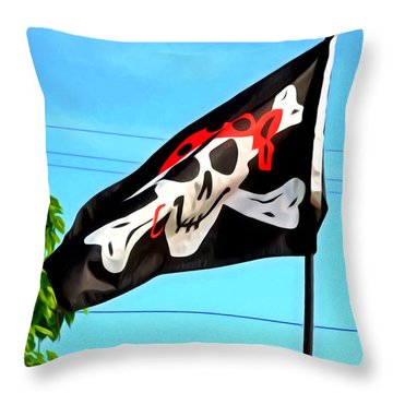 Pirate Ship Flag Of The Skull And Crossbones Throw Pillow by Lanjee Chee