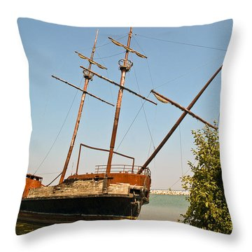 Pirate Ship Or Sailing Ship Throw Pillow by Sue Smith