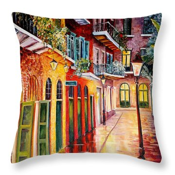 Pirates Alley By Night Throw Pillow by Diane Millsap