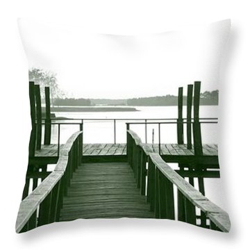 Pirate's Cove Pier In Monochrome Throw Pillow
