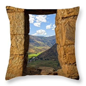 Pisac Ruins Throw Pillow by Alexey Stiop