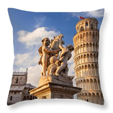 Pisa's Leaning Tower Throw Pillow by Brian Jannsen