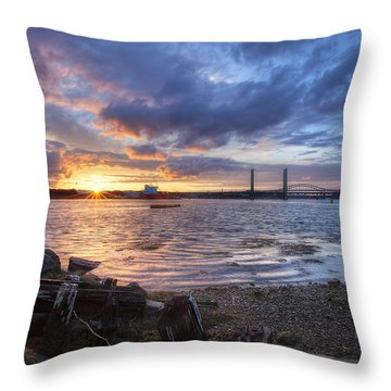 Piscataqua Sunset Throw Pillow by Eric Gendron