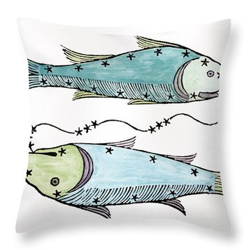 Pisces An Illustration Throw Pillow by Italian School