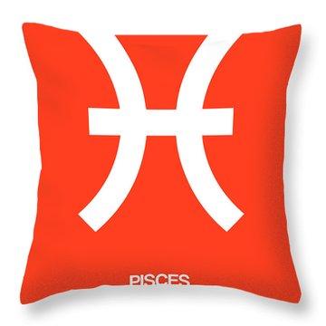 Pisces Zodiac Sign White Throw Pillow