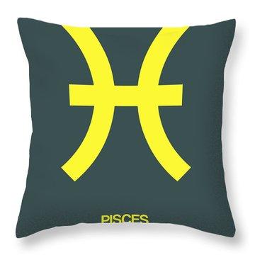 Pisces Zodiac Sign Yellow Throw Pillow