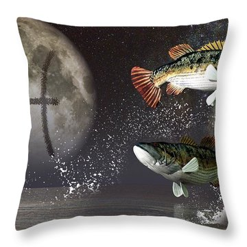 Pisces Zodiac Symbol Throw Pillow by Daniel Eskridge