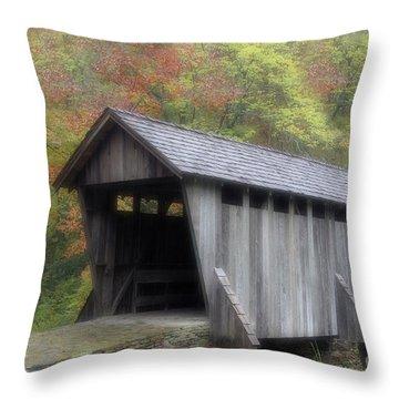 Pisgah Covered Bridge Throw Pillow by Karol Livote