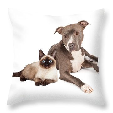 Pit Bull Dog And Siamese Cat Throw Pillow by Susan Schmitz