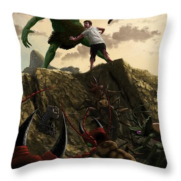 Pit Of Giant Insect Monsters Throw Pillow
