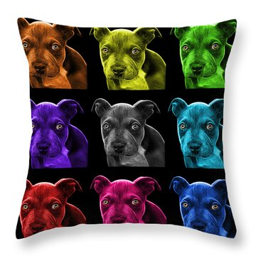 Pitbull Puppy Pop Art - 7085 Bb - M Throw Pillow by James Ahn