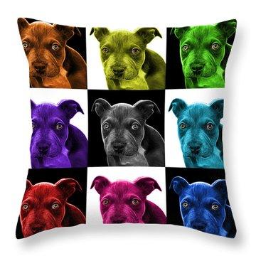 Pitbull Puppy Pop Art - 7085 V1 - M Throw Pillow by James Ahn