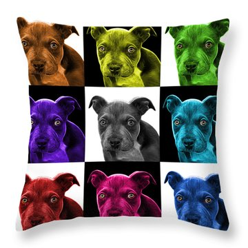 Pitbull Puppy Pop Art - 7085 V2 - M Throw Pillow by James Ahn