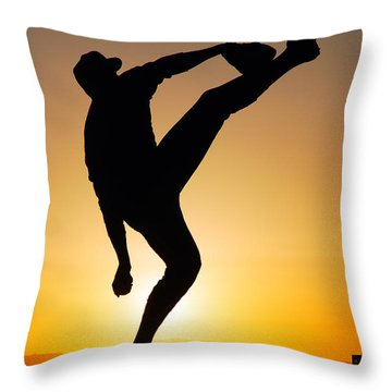 Pitching Form Throw Pillow