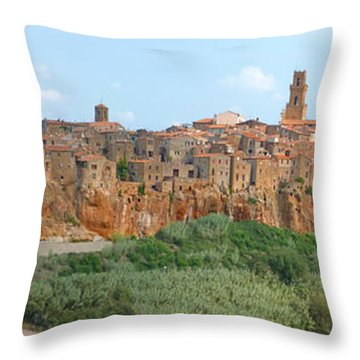 Throw Pillow featuring the photograph Pitigliano Panorama by Alan Socolik