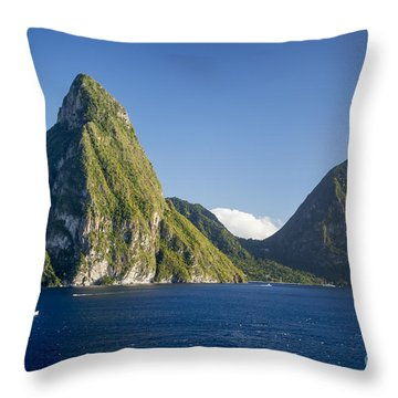 Pitons - St Lucia Throw Pillow