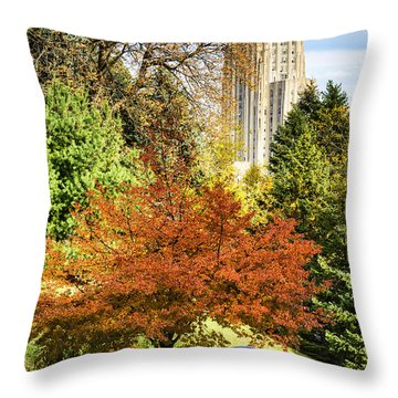 Pitt Panther And Cathedral Of Learning Throw Pillow by Thomas R Fletcher