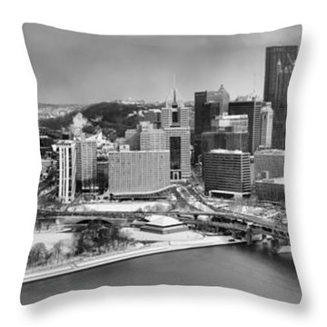 Pittsburgh Black And White Winter Panorama Throw Pillow