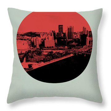 Pittsburgh Circle Poster 2 Throw Pillow