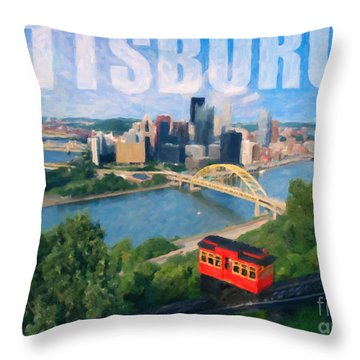 Pittsburgh Digital Painting Throw Pillow by Sharon Dominick