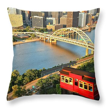 Pittsburgh Duquesne Incline Throw Pillow by Adam Jewell