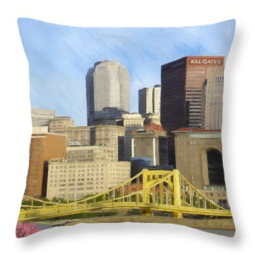 Pittsburgh From Pnc Park Throw Pillow by David Head