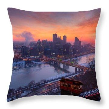 Pittsburgh Skyline Winter 2 Throw Pillow