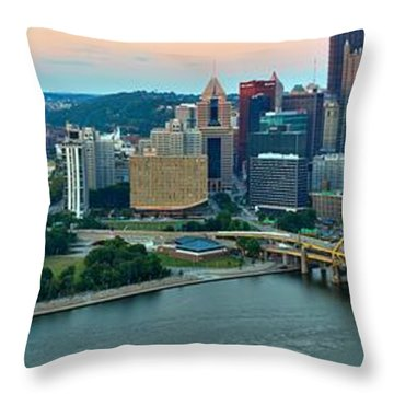 Pittsburgh Panorama At Dusk Throw Pillow