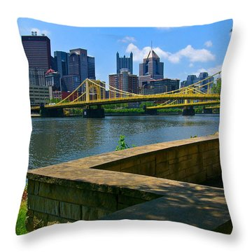 Pittsburgh Pennsylvania Skyline And Bridges As Seen From The North Shore Throw Pillow by Amy Cicconi