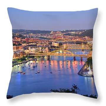 Pittsburgh Pennsylvania Skyline At Dusk Sunset Extra Wide Panorama Throw Pillow by Jon Holiday