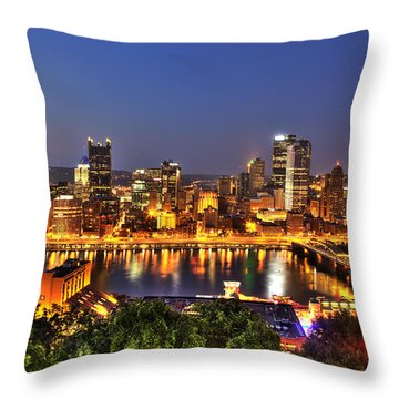 Pittsburgh Skyline At Night Throw Pillow by Shawn Everhart