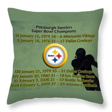 Pittsburgh Steelers Super Bowl Wins Throw Pillow