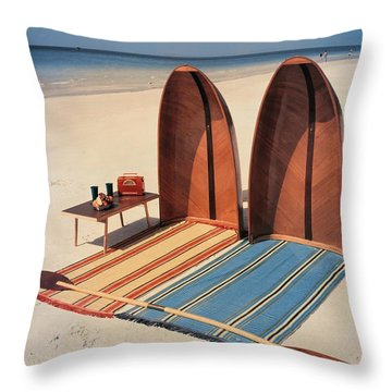 Pixie Collapsible Boat On The Beach Throw Pillow