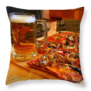 Pizza And Beer Throw Pillow