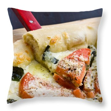 Pizza Throw Pillow by Edward Fielding