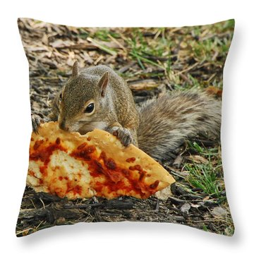 Pizza For  Lunch Throw Pillow by Mary Carol Story