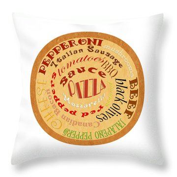 Pizza Typography 2 Throw Pillow by Andee Design